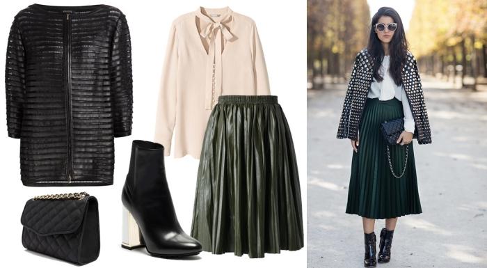 tenue hiver, comment porter le kaki en hiver, chemise beige avec jupe kaki et accessoires noirs