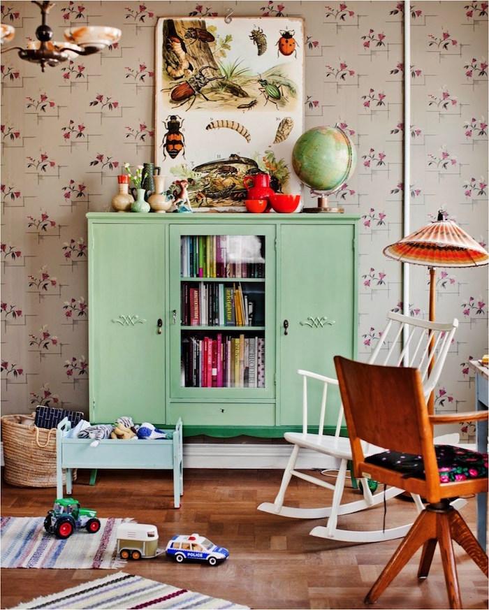 meuble vert chambre enfant couleur vive