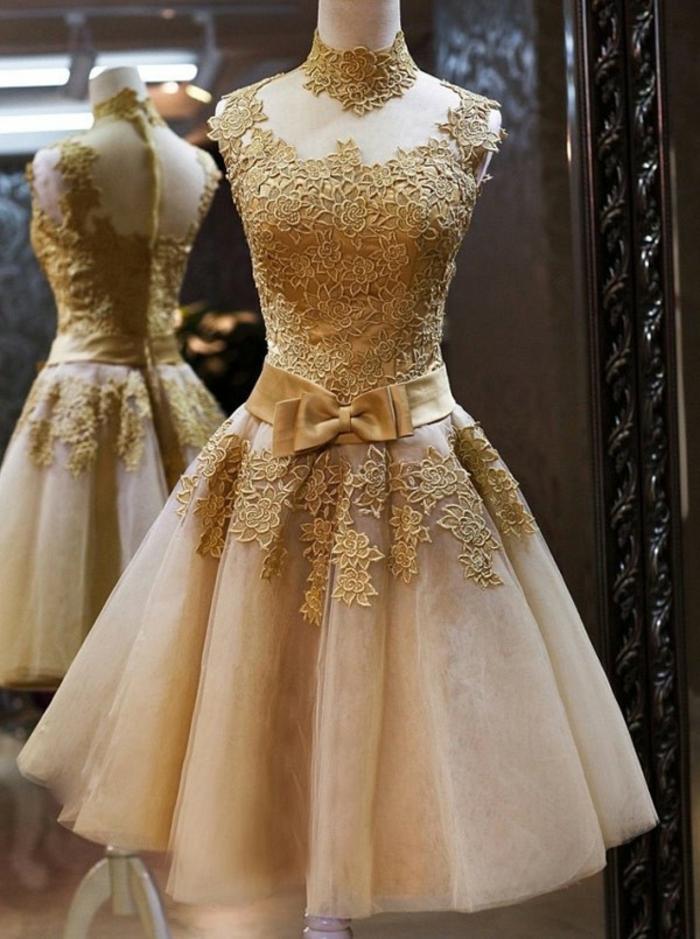 Moderne robe dorée et blanche robe doré accessoires tenue complète courte robe princesse
