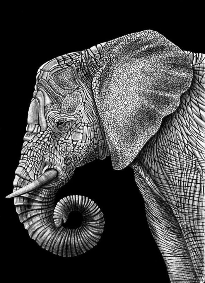 Idée dessin new york noir blanc dessin tribal noir et blanc simple éléphante blanc crayon papier noir dessin magnifique