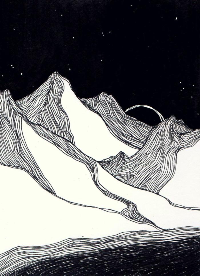 Jolis dessins en noir et blanc à imprimer décoration maison art montagnes paysage nocturne