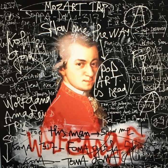 artiste contemporain Kokian style murs urbains avec des grafittis sur la figure de Mozart