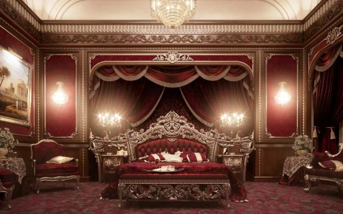 lit baroque, chambre rouge en style victorien, atmosphère majestueuse, couleur rouge royal