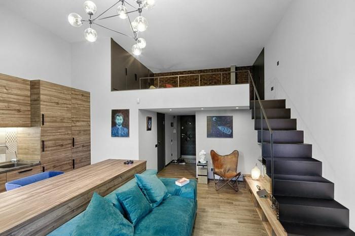 lit mezzanine 2 places, escalier métallique, chambre à coucher surémevée, lampe molécules