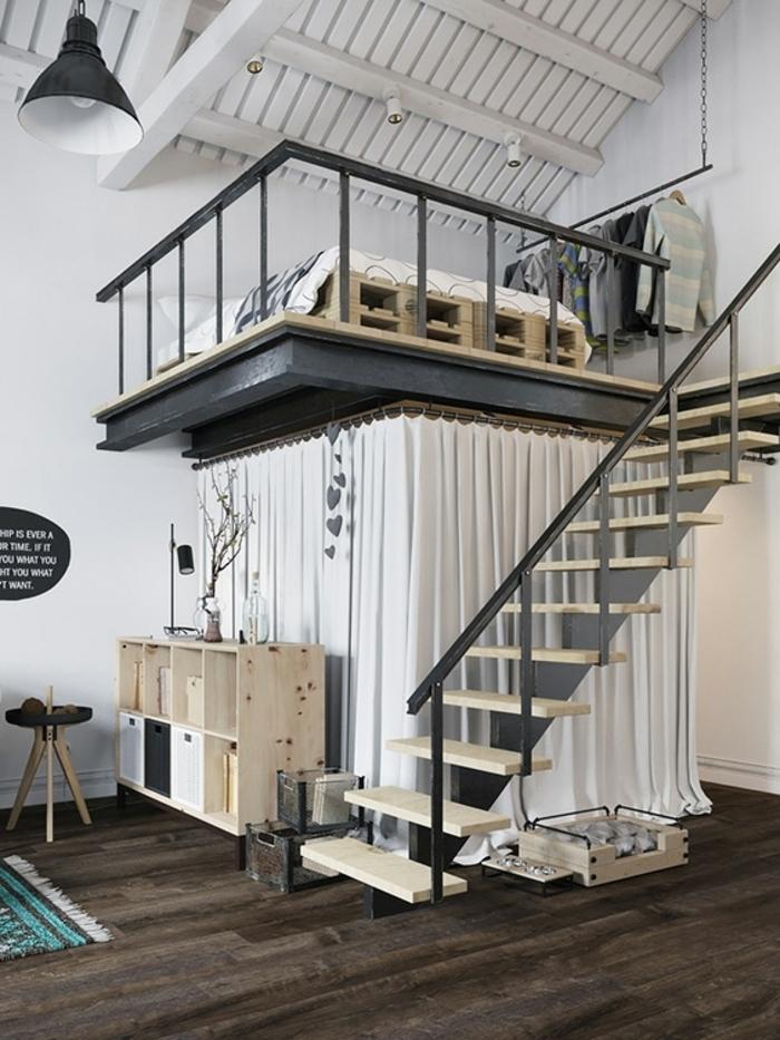 lit mezzanine 2 places, mezzanine et escalier préfabriqués, petite étagère en bois