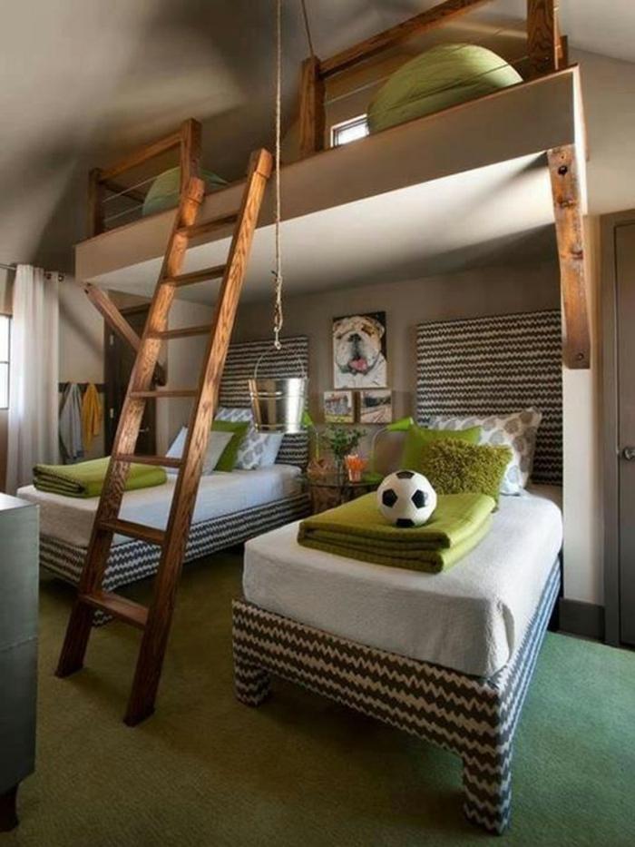 lit surélevé, chambre de garçon avec mezzanine,