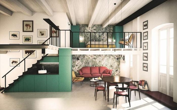 lit surélevé, plafond blanc, escalier droit, séjour élégant avec table à manger
