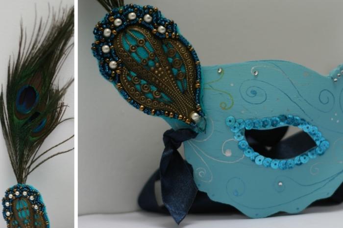 masque deguisement, étapes à suivre pour faire un masque de fête, modèle de masque carnaval en peinture turquoise