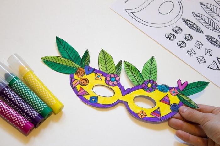 masque deguisement, coloration pour enfants, patron à imprimer et colorer pour créer un masque de fête