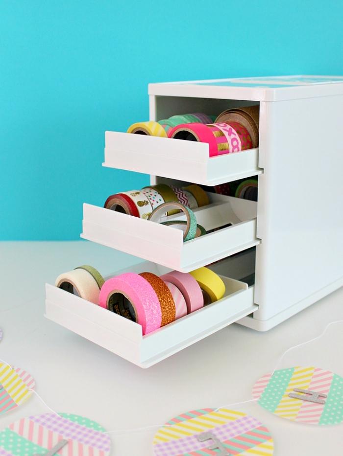 activité manuelle pour ado, matériaux pour réaliser une décoration chambre fille avec papier et scotch coloré