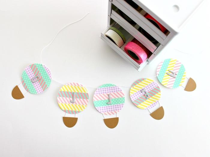 bricolage enfant, projet diy facile avec papier et rubans adhésifs à design géométrique et couleurs pastel