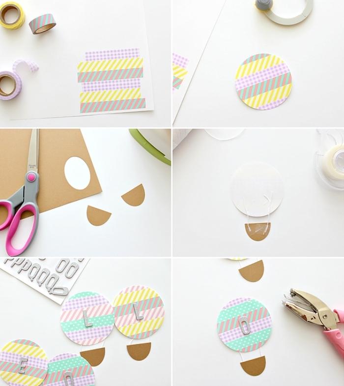 art du papier, instruction comment faire une décoration d'intérieur en papier et ruban adhésif coloré