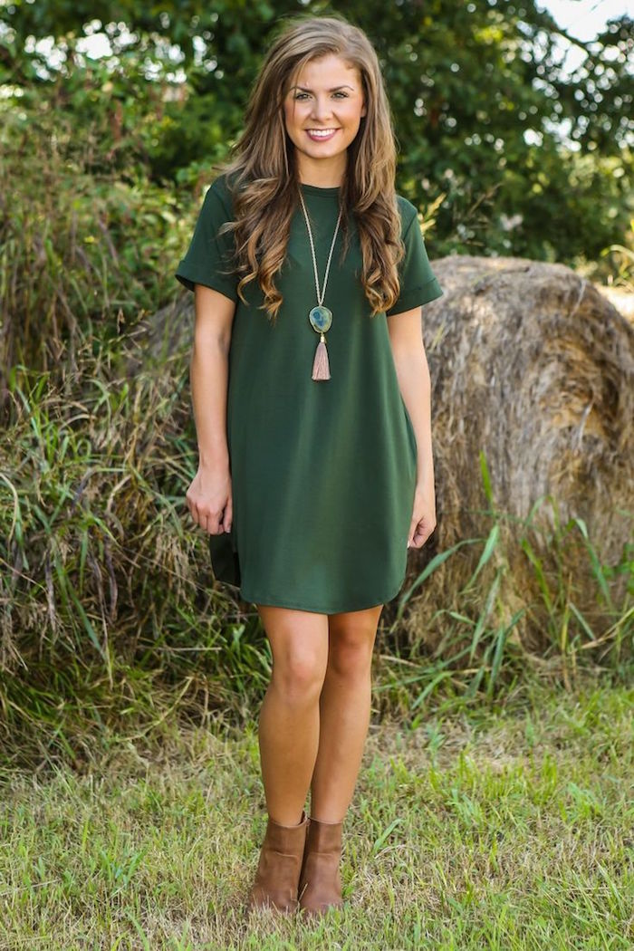 robe style bohème chic femme verte pour campagne