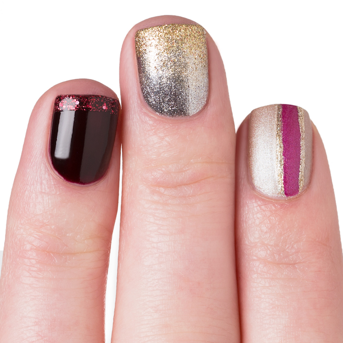 manucure noel simple, vernis à ongles bordeaux, argent et or, ligne mauve, modele de nail art simple
