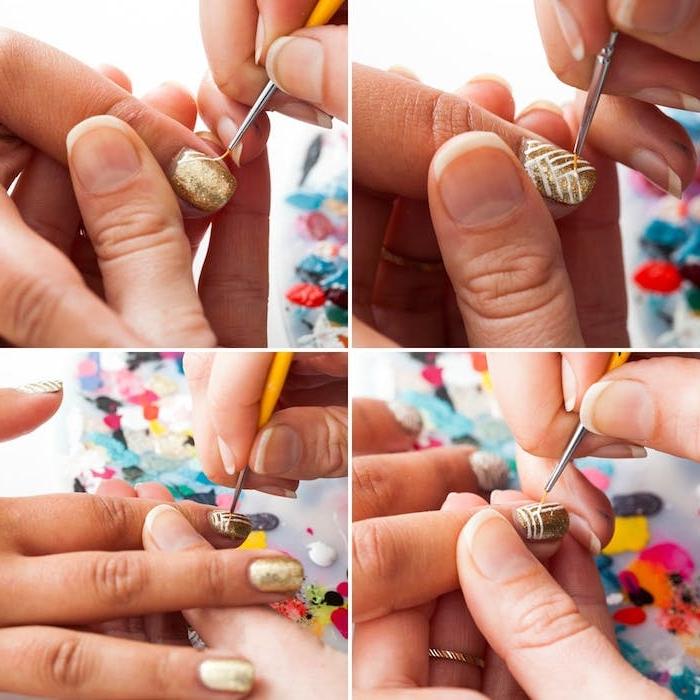 manucure noel facile, vernis à ongles couleur or à effet pailleté et dessins de lignes blanches au vernis liner
