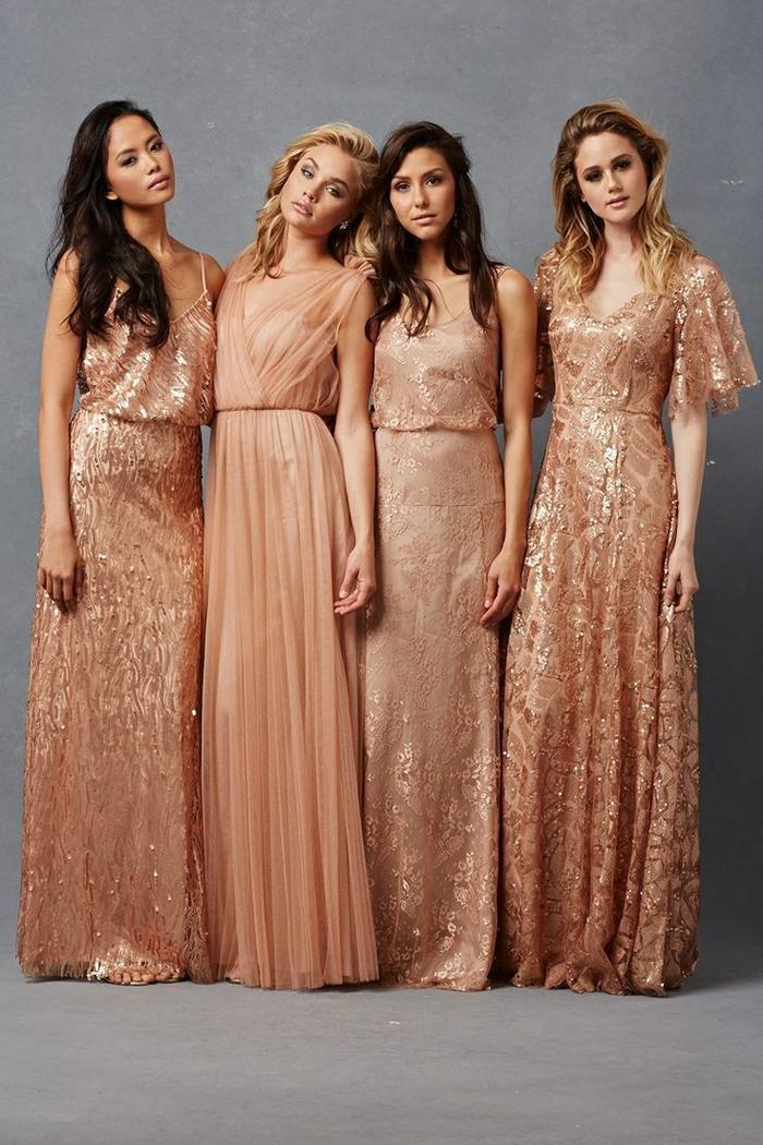 Magnifique robe sequin doré robe de soirée doré longue tendance sequins rose dore robe longue mariage