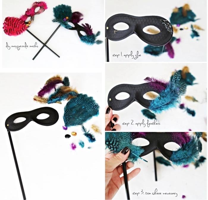 loisir creatif, photo avec les étapes à suivre pour réaliser un masque de carnaval simple noir avec plumes décoratives