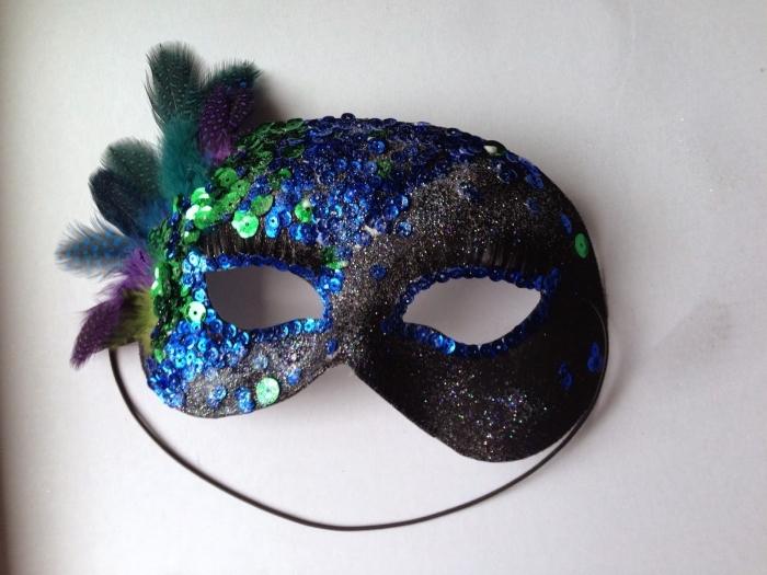 modèle de masque à fabriquer soi meme, décoration de masque de carnaval en paillettes et plumes