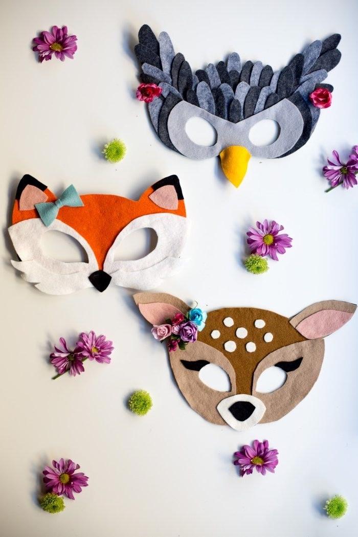 activité manuelle pour grands et petits, fabrication masque de fête à design animal