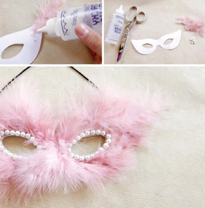 guide pour réaliser son projet créatif en utilisant perles blanches et faux fur de nuance rose