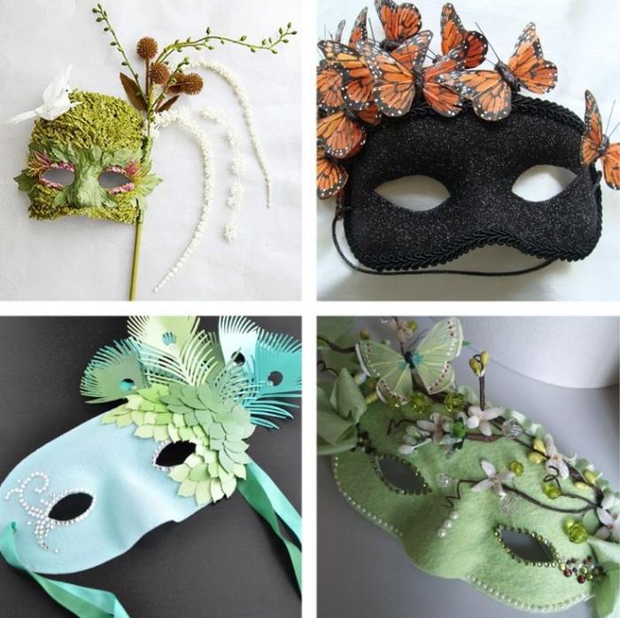 projet diy pour faire un masque de carnaval, modèle de masque noir avec papillons orange