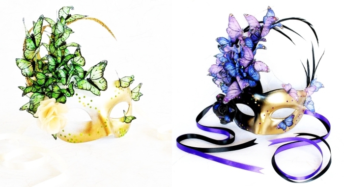 projet diy pour faire un masque de carnaval avec papillons artificiels et ruban violet et noir