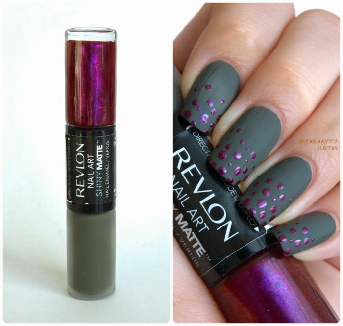 Admirable skill nail art mat le matte sur les ongles vernis effet mat vernis originale violet et vert