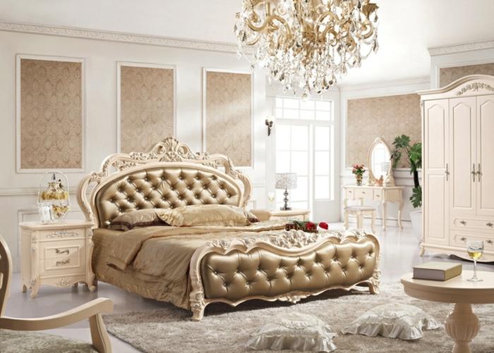 meuble baroque pas cher, lit pour chambre fantastique, lustre baroque, tapis taupe, armoire victorienne