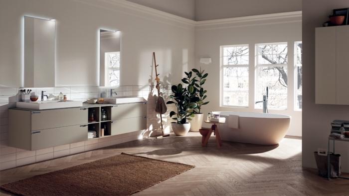 recouvrir carrelage sol, plantes vertes dans pot à fleurs blanc, miroir rectangulaire avec éclairage néon blanc
