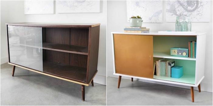 meuble relooké avant apres, idée de meuble de rangement bas repeint en blanc a l exterieur et en vert menthe a l interieur, porte coulissante en bois