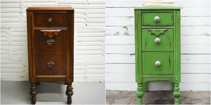 meuble relooké avant apres, un meuble de rangement ancien en bois foncé, recouvert de peinture verte, comment patiner un meuble