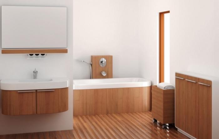 amenagement salle de bain, déco en blanc et bois, salle de bain avec plancher et meubles en bois