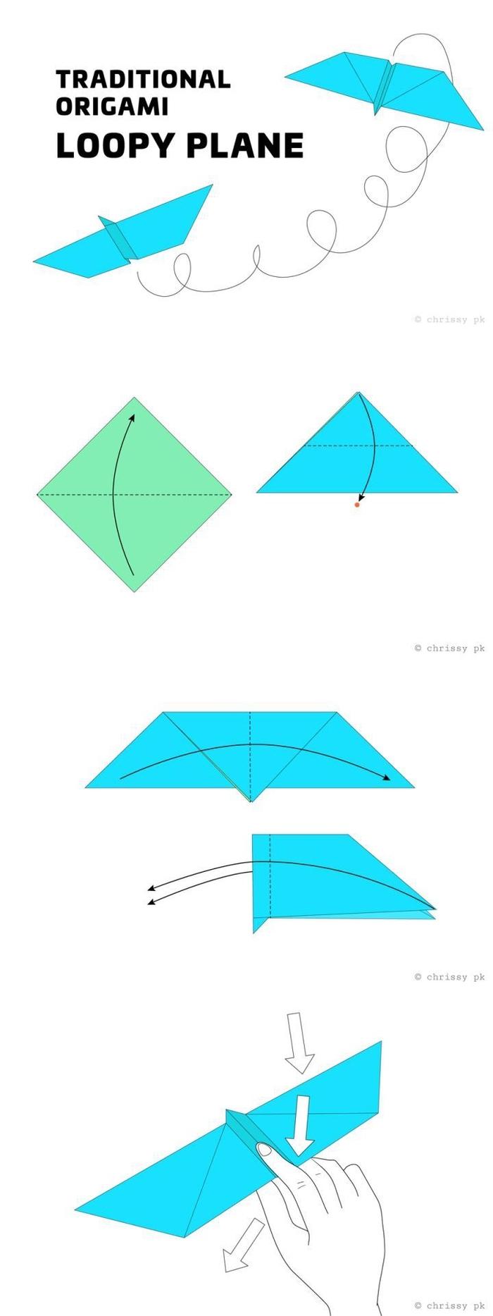 comment fabriquer un avion en papier à design origami traditionnel qui fait des loopings, tuto pour débuter bien dans le pliage papier origami
