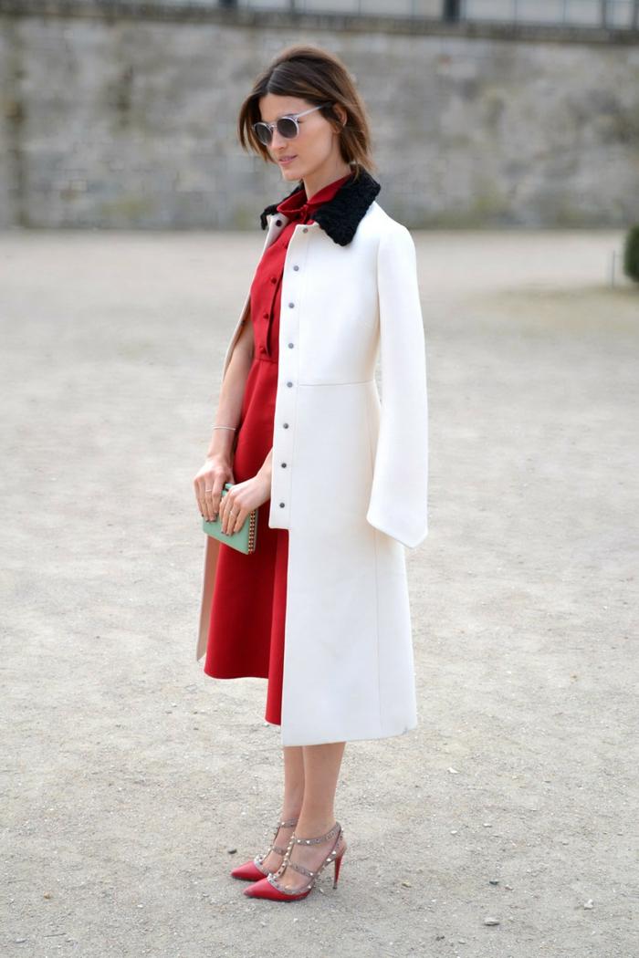 Idée tenue soirée pantalon look décontracté femme bien habillée idée stylée tenue rouge et blanc