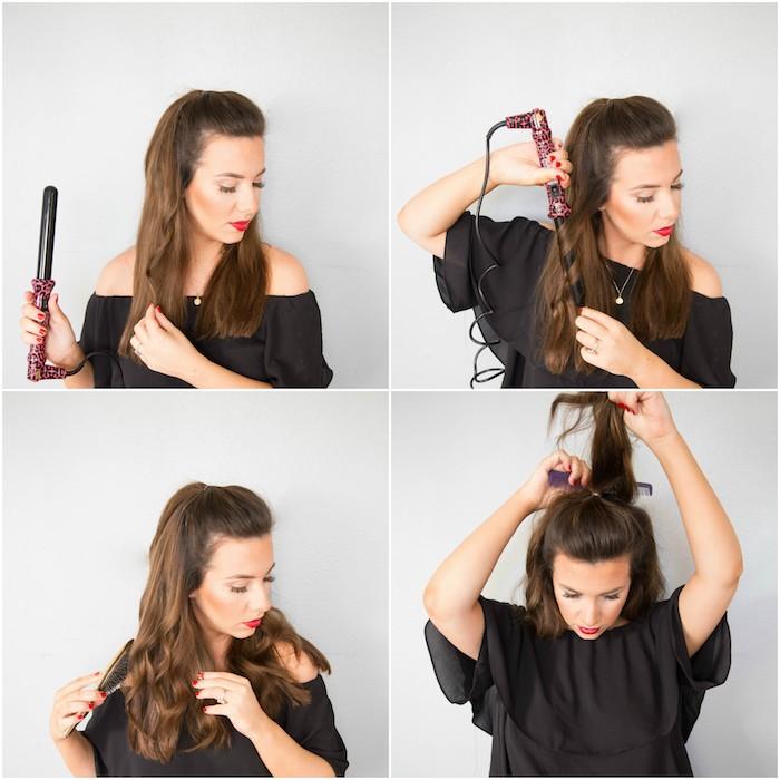 exemple comment faire une coiffure pour noel, cheveux chatain ondulés avec un fer à boucler, demi queue de cheval, tuto coiffure