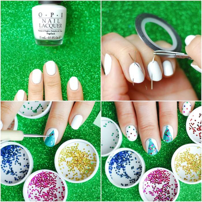 tutoriel pour faire un nail art noel simple, vernis à ongles blanc, motif sapin de noel décoré de boules de noel en strass colorés