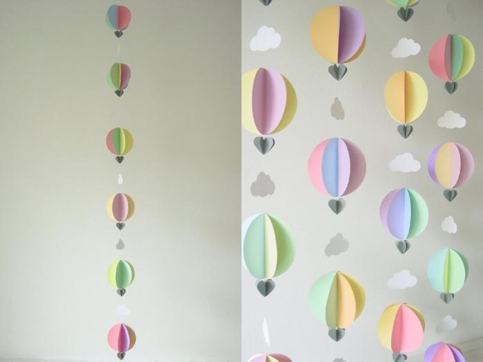 activité manuelle pour ado, modèle de guirlande diy réalisé avec papier en couleurs sous la forme de ballons à gaz