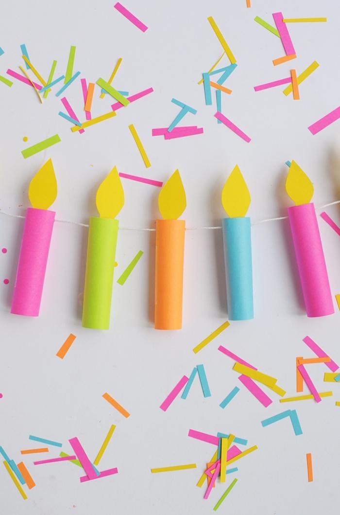 activité manuelle pour ado, décoration de fête anniversaire fabriqué avec papier en couleurs