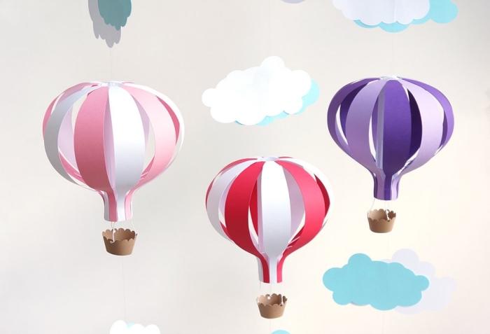 activité créative, modèle de guirlande décorative à design ballons à gaz fabriqués de papier en couleurs