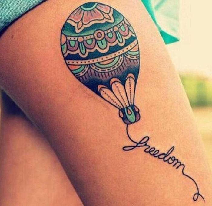 signification tatouages tattoo montgolfière symbole du voyage