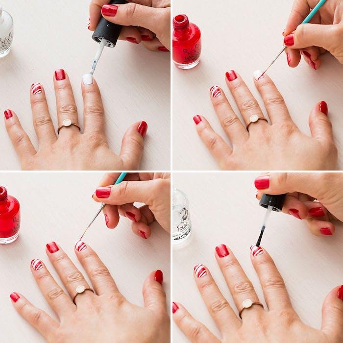 nail art noel facile, tutoriel pour faire un motif canne de bonbon en rouge et blanc, tutoriel étape par étape pour une deco ongles