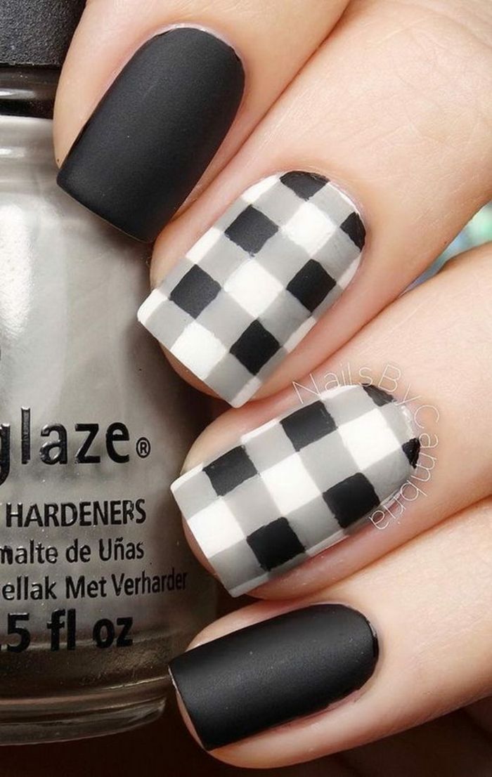 The nail art comment faire du vernis transparent vernis noir et blanc idée\