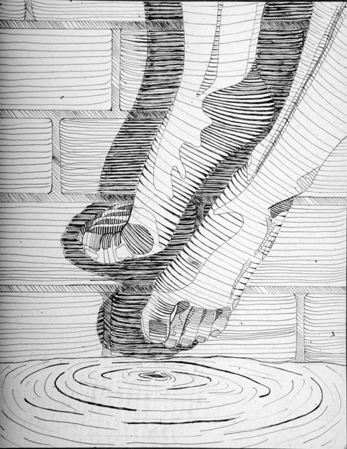 Tableau dessin noir et blanc dessin crayon blanc sur papier noir