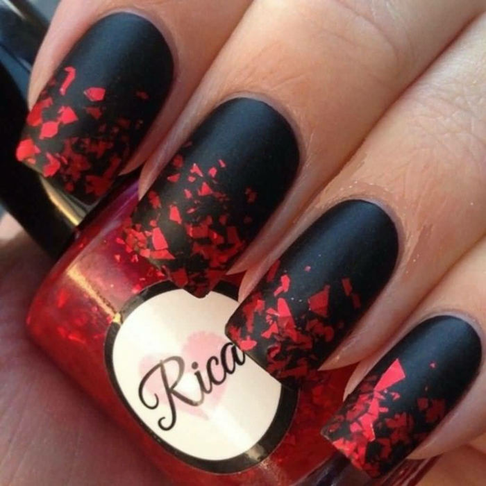 Black matte nail designs mat nailpolish nails matte noir et rouge