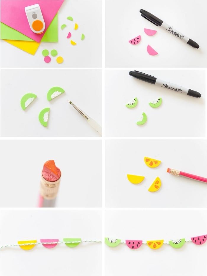 bricolage enfant, étapes à suivre pour réaliser une guirlande décorative en papier et fil blanc