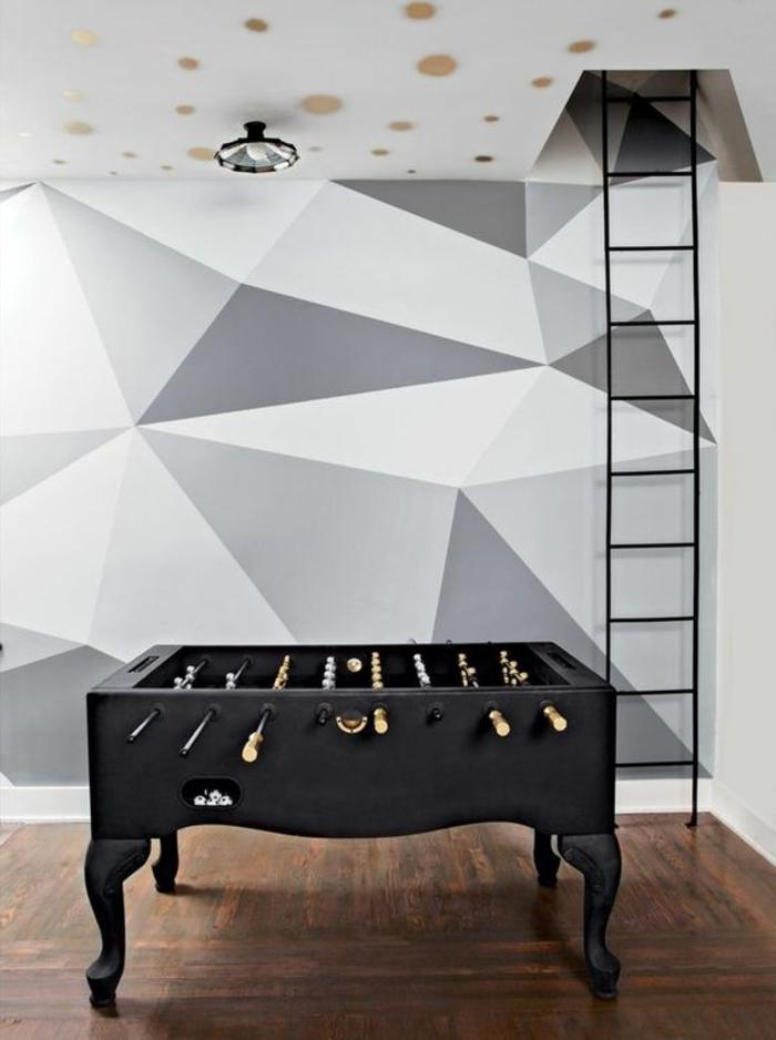Papier Peint Geometrique Triangles Noir Et Blanc Gris : Idées pour un papier peint trompe l œil les décos
