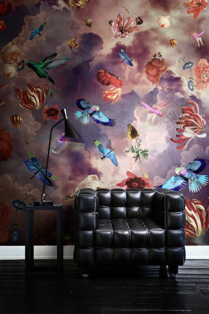 Papier peint rtompe l 39 oeil avec des papillons et des fleurs en bleu - Papier peint original pour salon ...