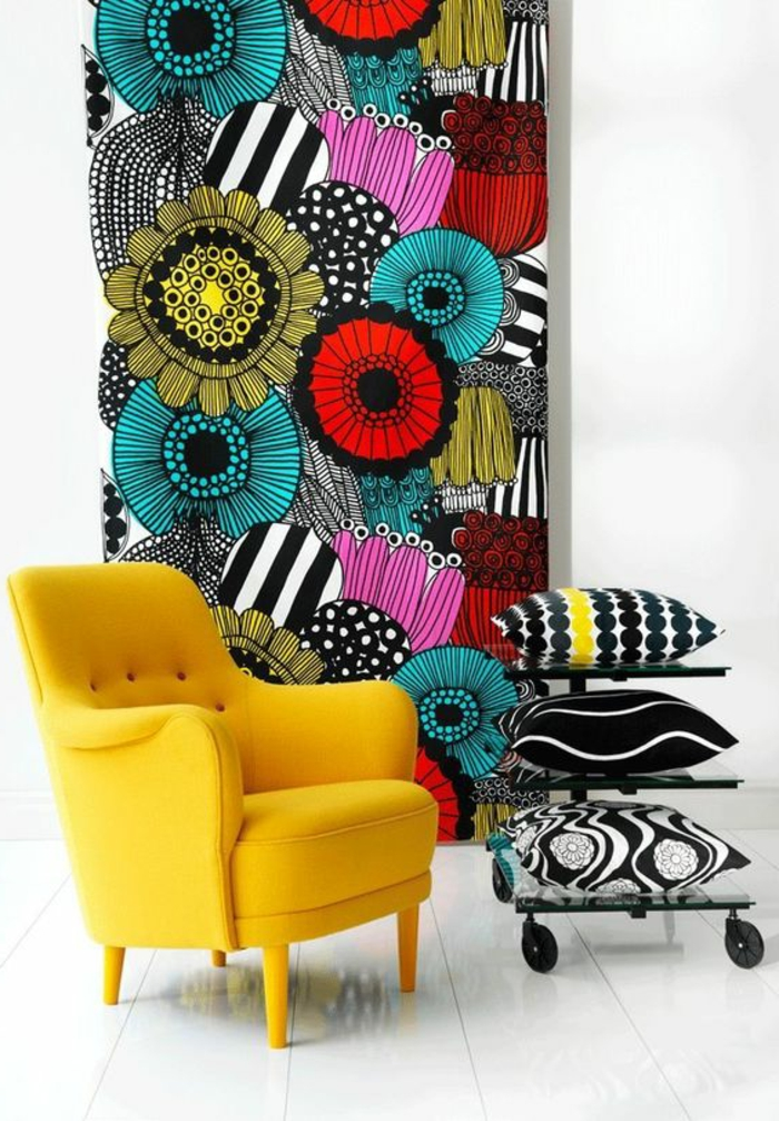 Papier peint geometrique papier peint liberty avec des grandes fleurs - Papier peint salon gris ...