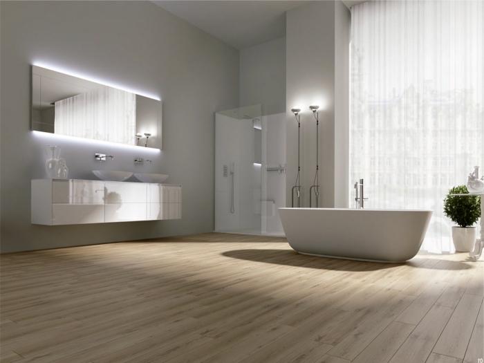 meuble vasque salle de bain, déco moderne avec meubles sans poignées et éclairage miroir néon blanc