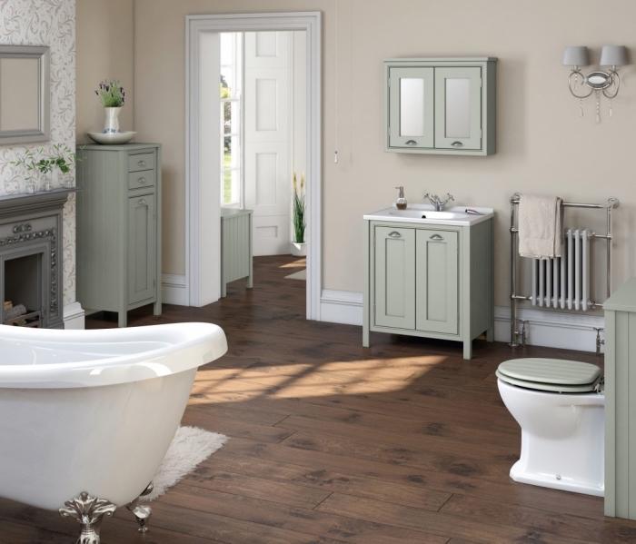 revetement salle de bain, déco plancher en bois avec tapis moelleux en blanc, meubles de bains en bois peints vert pastel